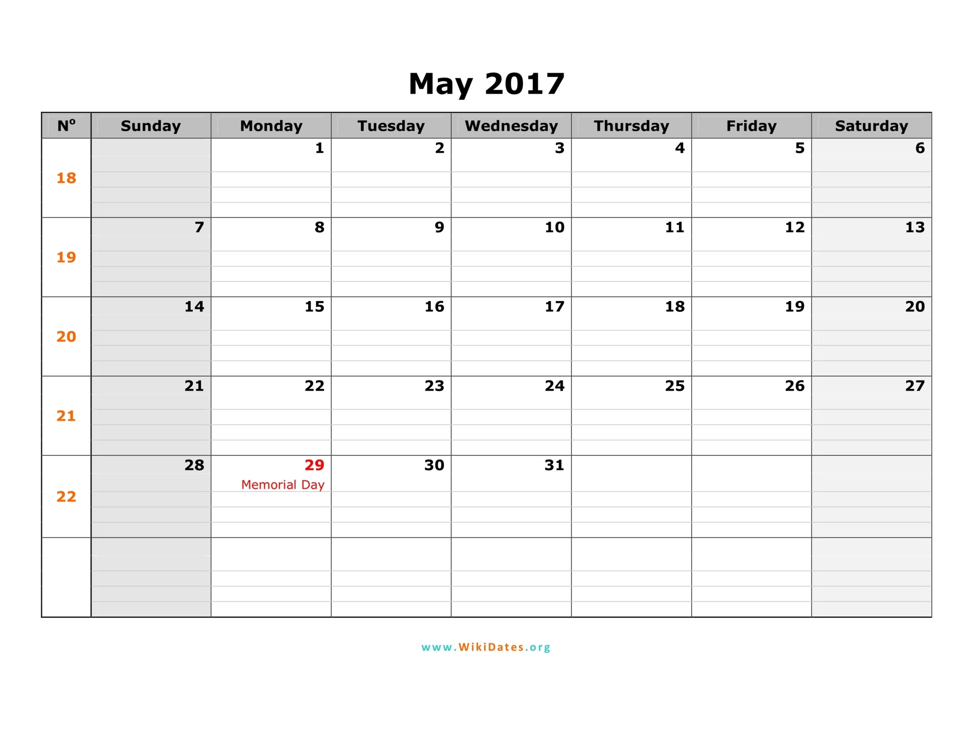 May 2017 Calendar Editable | free calendar 2017