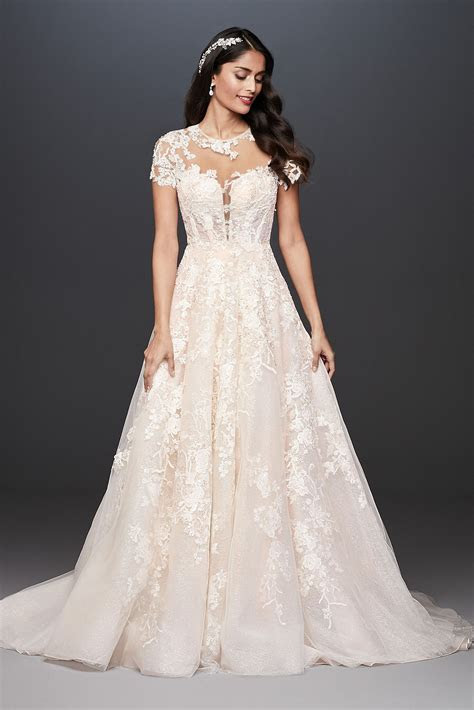 Lace Illusion Cap Sleeve Ball Gown Wedding Dress Oleg