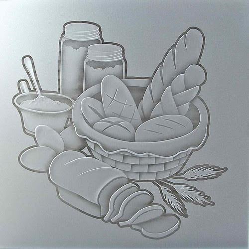 Pantry Doors Glass Bread Basket Design 3d Sculpture Carved Glass