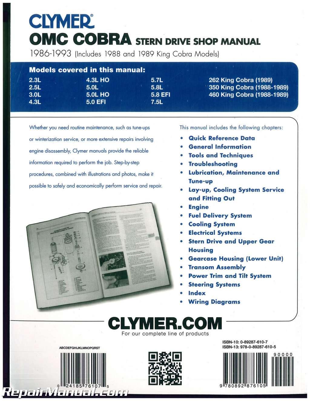 Clymer OMC Cobra 1986-1993 Stern Drive Boat Engine Repair ...