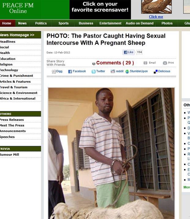 Gordon Yeboah foi preso por ato sexual com ovelha. (Foto: Reprodução)