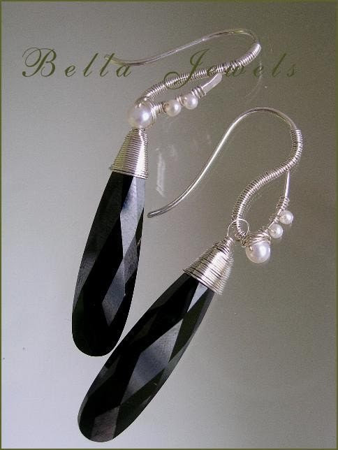 Presidential Inauguration...Elongated Jet Black Cubic Zirconia with Pearl Adorned Sterling Earrings