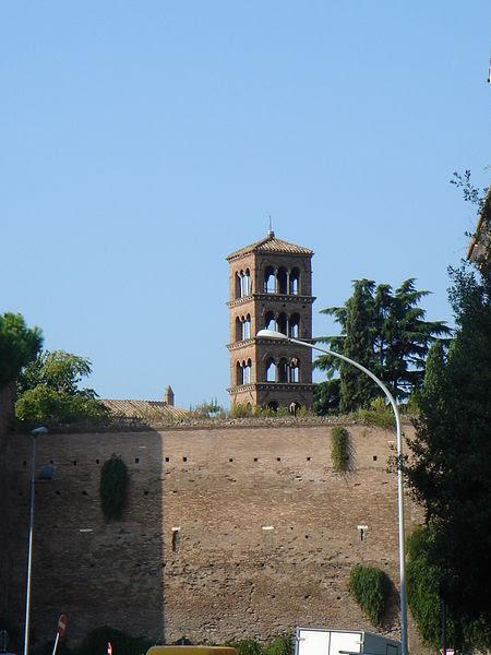 File: Celio - San Giovanni a Porta Latina - Campanile da fuori le mura 01495.JPG
