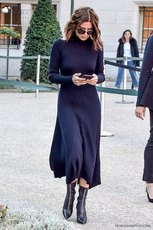 Le Fashion Blog Street Style Editor Christine Centenera Wavy Bob Prada Sunglasses Celine Ribbed Knit Dress Black Pointed Toe Ankle Boots Via People & Styles