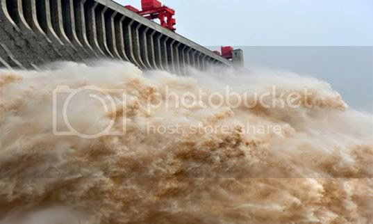 Water rages from Three Gorges Dam