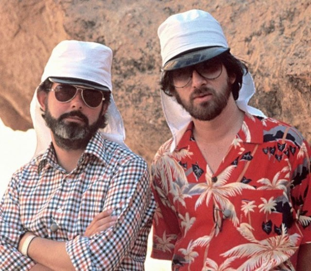 Steven Spielberg and George Lucas on set