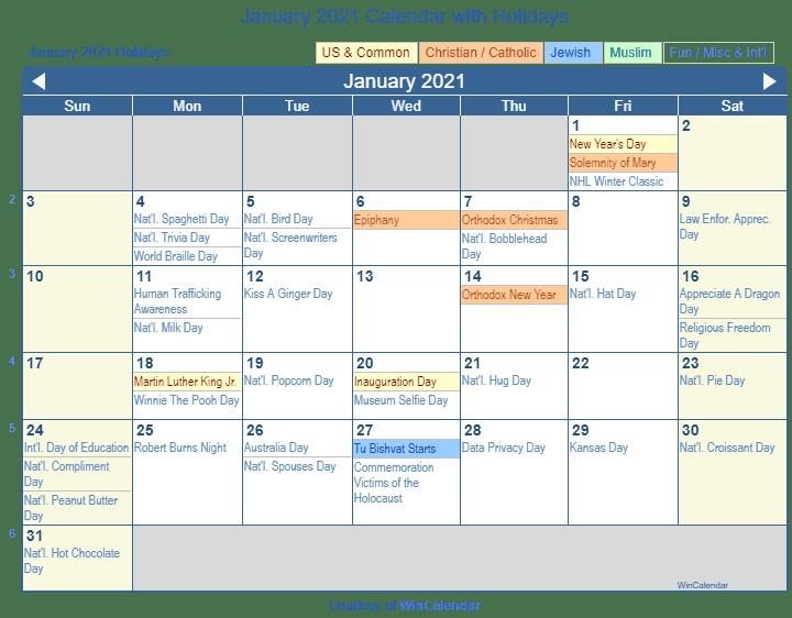 January 2021 Calendar With Holidays Usa | Huts Calendar