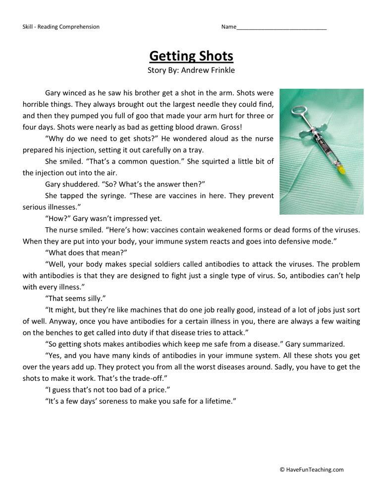 Reading Prehension Worksheet Getting Shots
