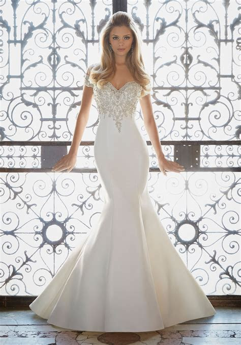 Crystallized Embroidery on Satin Wedding Gown   Style 2880