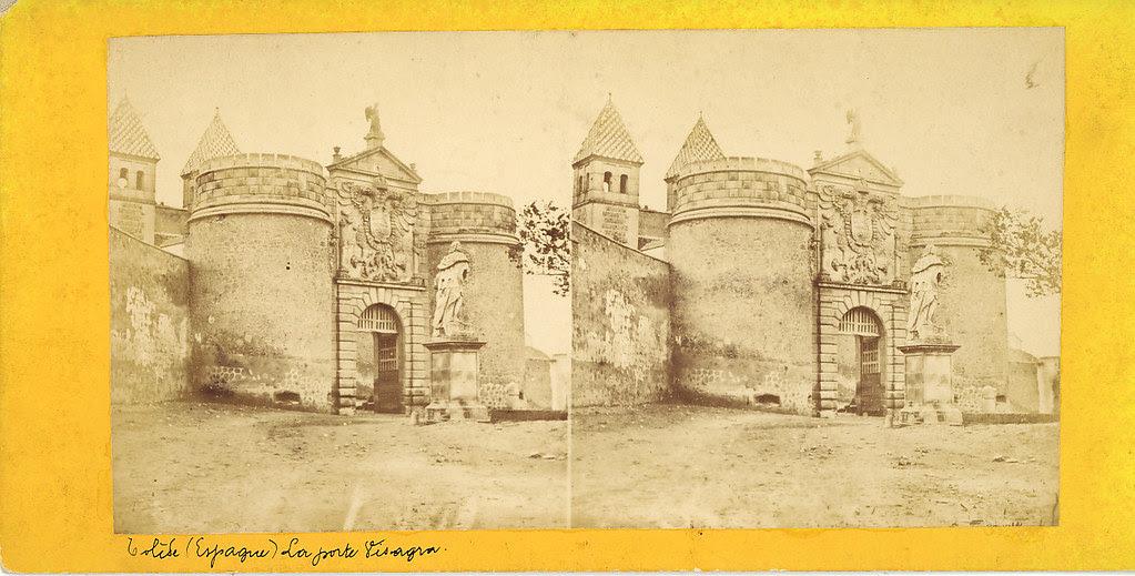 Fotografía estereoscópica de Toledo. Puerta de Bisagra