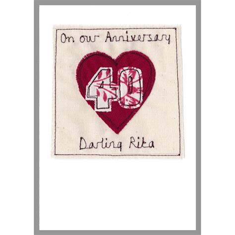 personalised ruby wedding anniversary card by milly and