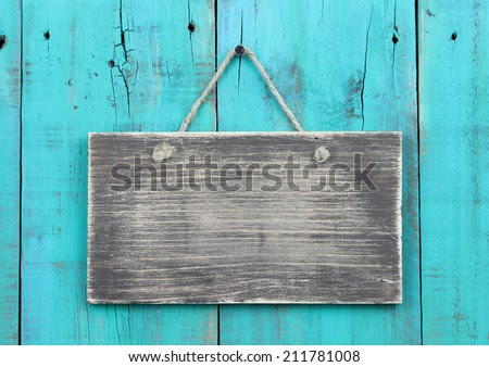 sign background Blank  hanging  blue rustic  sign on vector antique teal wooden wood rustic