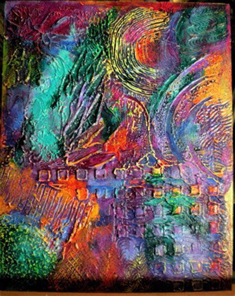mixed media folk art  textured abstract paintings