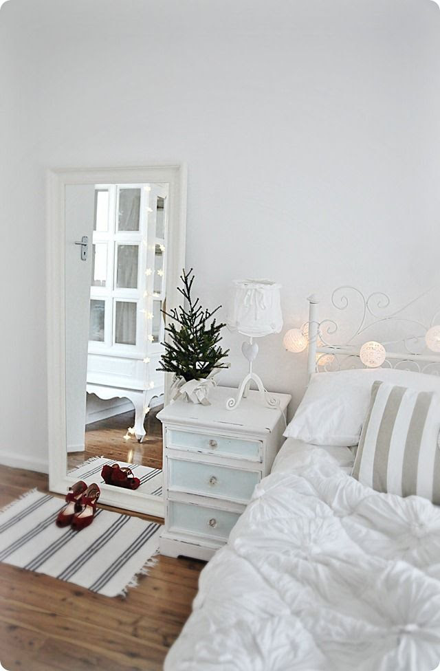 white coastal nautical Christmas bedroom with fairy lights more beachy ideas