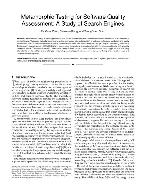 (PDF) Metamorphic Testing for Software Quality Assessment