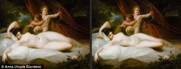 Wieight watchers: This 'before and after' shot shows a fuller-figure in The Power Of Venus, by Richard Westall, private collection. In Giordano's version, Venus looks like she relaxing after a gym session