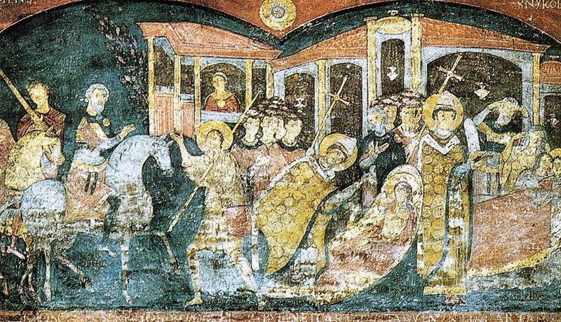 File:Roma, san clemente inferiore, scene della vita di sant'alessio, fine XI secolo.jpg