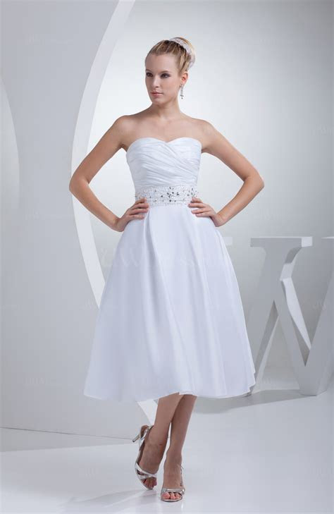 White Cute Outdoor A line Sleeveless Taffeta Tea Length