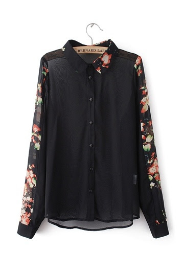 Retro Printed Sleeves Chiffon Shirt