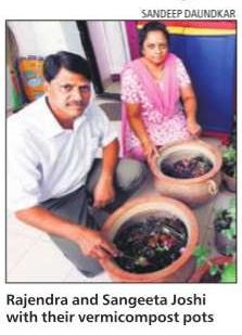 Rajendra & Sangeeta Joshi with their vermicompost pots