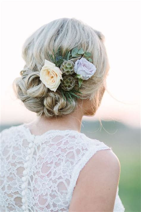 18 Wedding Updo Hairstyles with Greenery Decorations