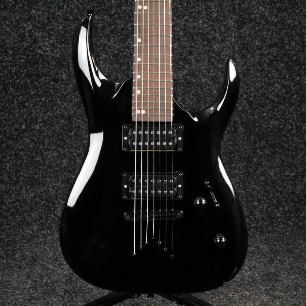Gear4music 7 String Electric Guitar Black 2nd Hand Rich Tone Music