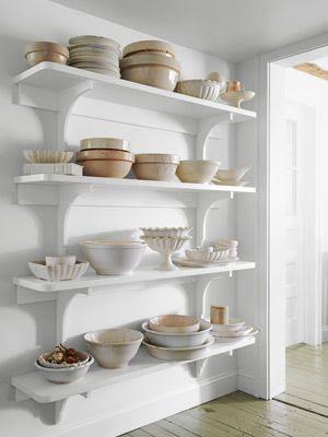 ironstone in open shelves