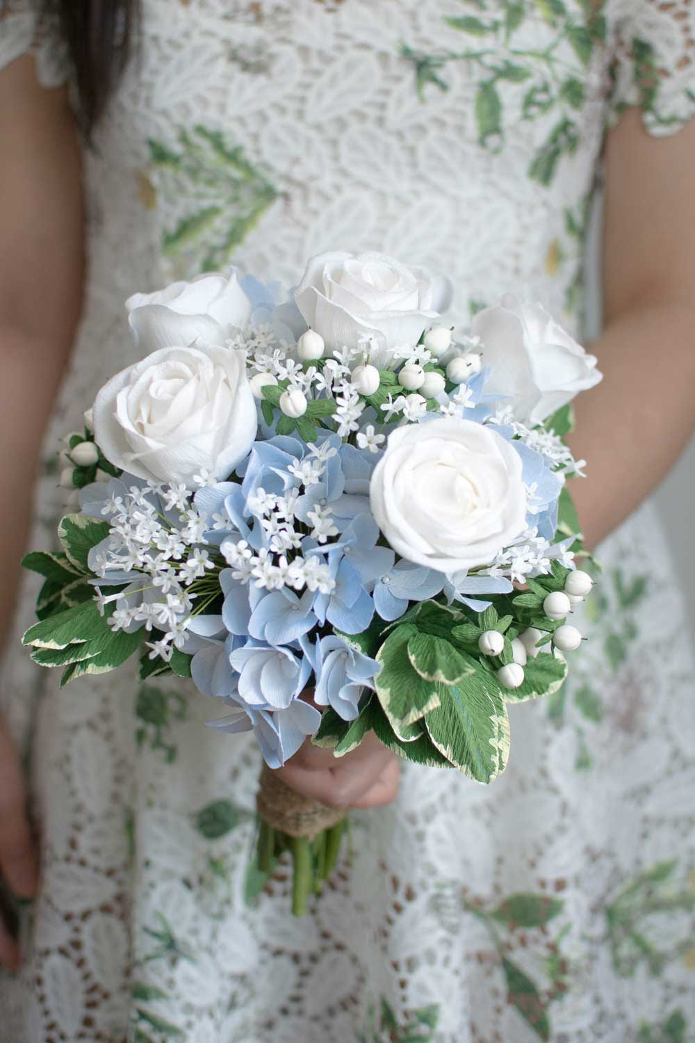 Blue And White Paper Flower Bouquet Re Creation Crafted To Bloom