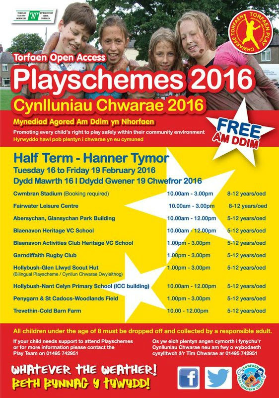 Torfaen Play half-term playschemes 2016