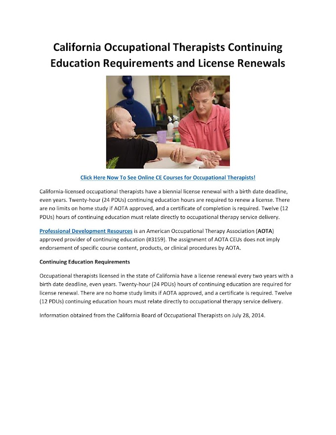 Occupational Therapy License California
