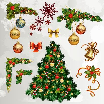 クリスマスツリーコーナーフレーム飾りのイラストaieps ベクター