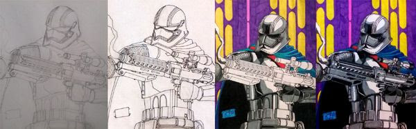 Work-in-progress photos of my Captain Phasma drawing.