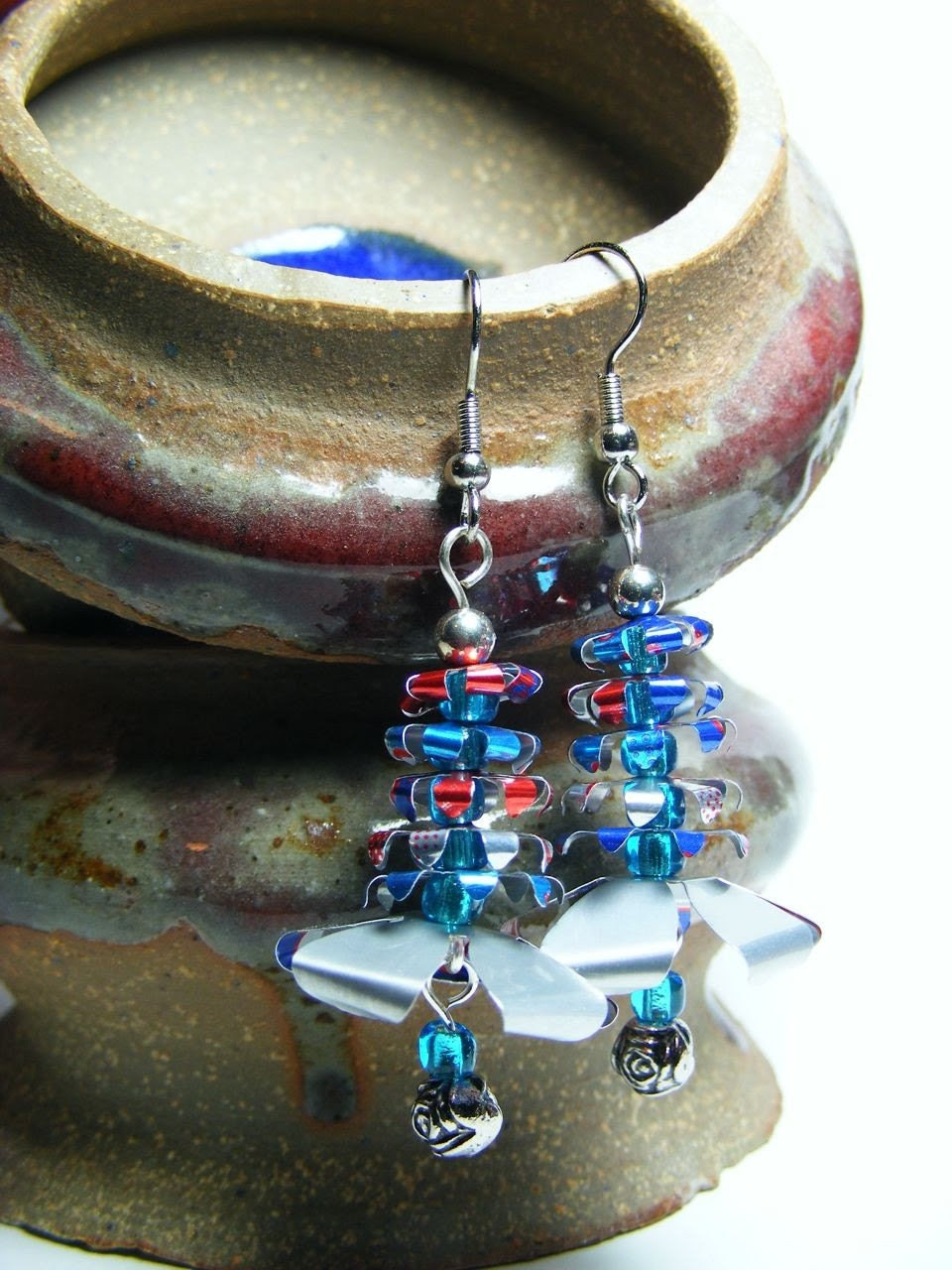 Handmade Upcycled Aluminum Flower Red and Blue Earrings