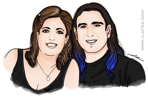 Ilustração casal Rodrigo Damazio e Patricia Bovendorp