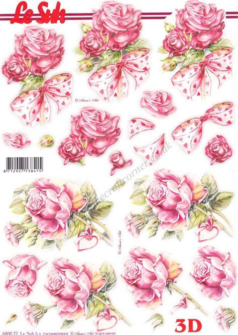 Pink Roses Tied With Love Heart Decorated Ribbons Die Cut