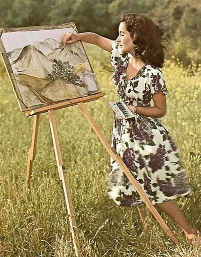 A young Elizabeth Taylor painting; note the violet dress.