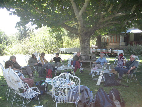 A nice cup of tea in the gardens at the Mountain Inn, Chitral