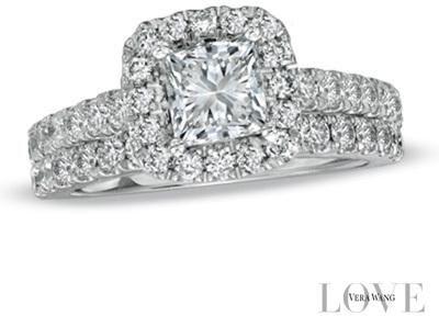 Vera Wang Love Collection 2 Ct Tw Princess Cut Diamond Frame