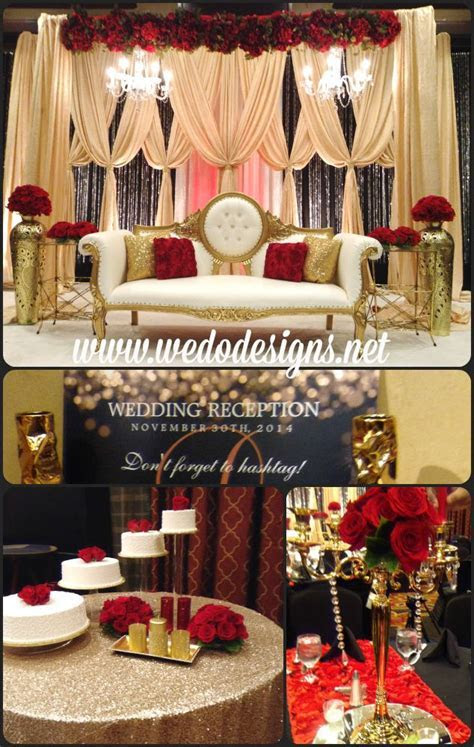 Hollywood glam wedding, red, gold and black. Gold Sequin