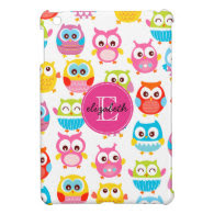 Cute Litte Owls Monogrammed iPad Mini Case