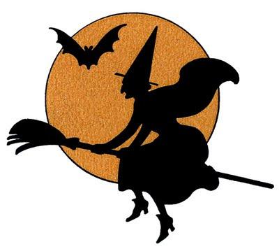 魔女と月 コウモリ 満月 ハロウィン風 印刷して使える月ムーン型紙