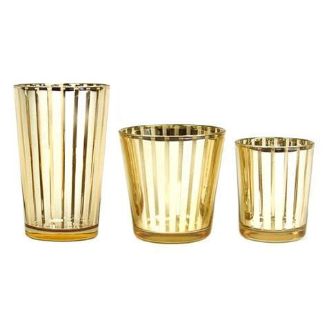 Striped Votive Candle Holders   4 Gold [424482