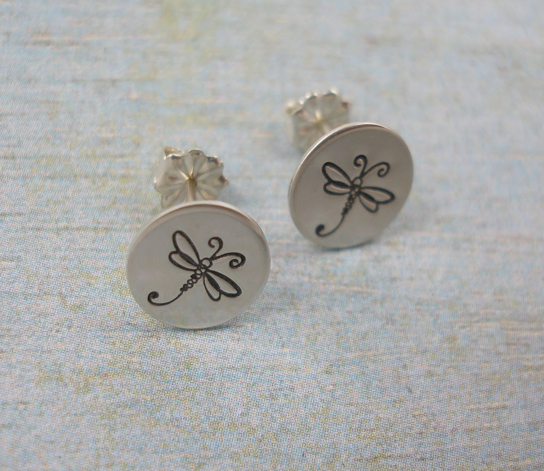 Hand Stamped Earrings - Sterling Silver Post Earrings - Dragonfly Earrings - Hand Stamped Jewelry