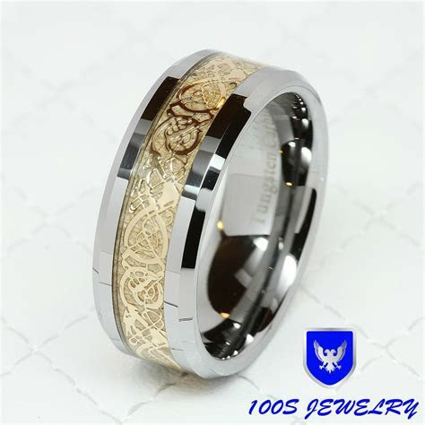 8MM Tungsten Carbide Gold Celtic Dragon Inlay Men's Ring