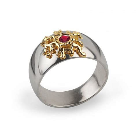 Cyber Monday SALE, SILVER CORAL Gold Ruby Ring, Mens Ruby
