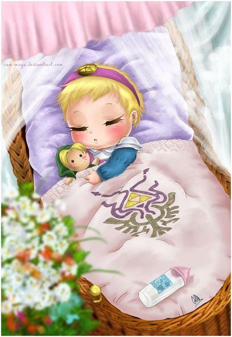 A newborn Princess Zelda with her hero doll and Lon Lon