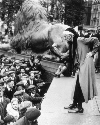 Charlotte Despard addressing an anti-Fascist rally in Trafalgar Square in the early 1930s