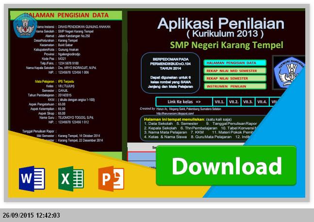 Administrasi Aplikasi Penilaian Kurikulum 2013 SMP dengan Ms. Excel Terbaru 2015