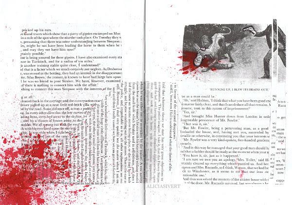 Running up, I blew its brains out, aliciasivert, alicia sivertsson, collage, paint, blood, sherlock holmes, morbid, macabre, dog, dead, pistol, gun, Sidney Paget, sir arthur conan doyle, boksidor, blod, hund, fläck, stänk, vapen