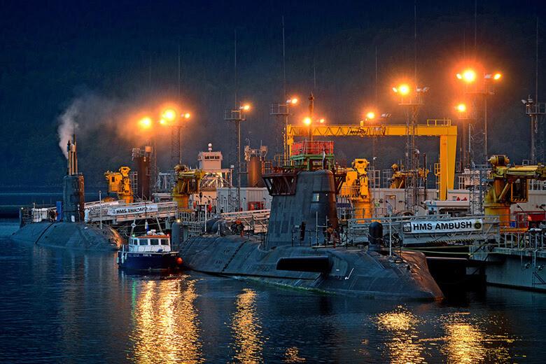 Valiant Jetty Faslane. SSNs HMS Ambush and Triumph alongside
